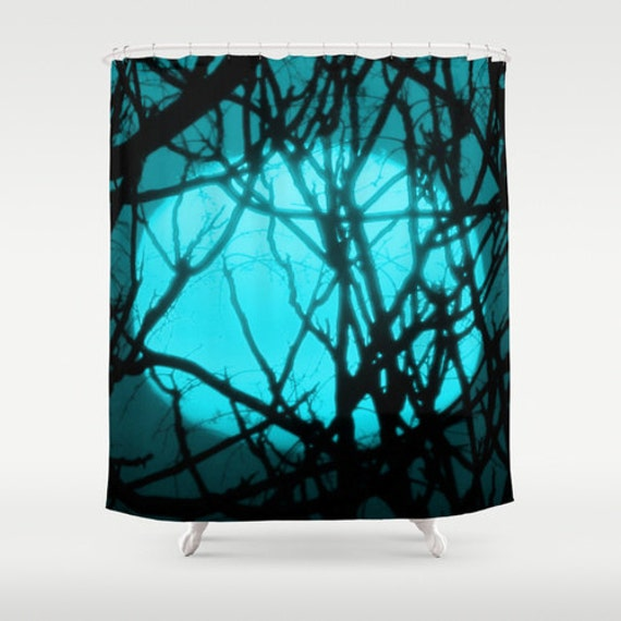Teal Sunset Shower Curtain Washable Fabric By YarsPhotography