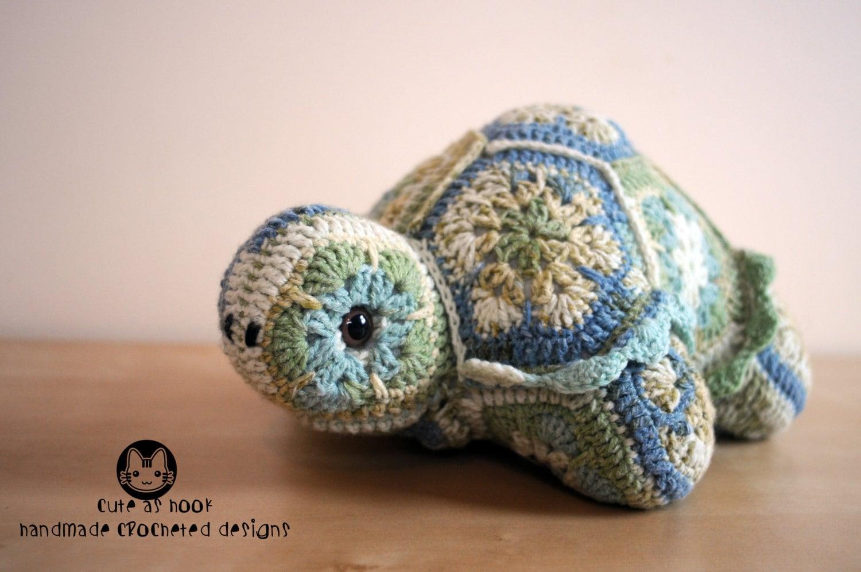 Crochet African Flower Animal Patterns : Darwin the African Flower Tortoise Crochet Pattern PDF