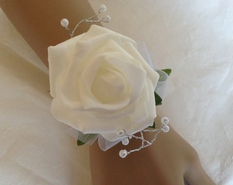 Wrist Corsage / Bracelet with rose and beaded sprays for a wedding or party