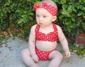 Itsy bitsy teeny weeny Red & white polka dot bikini swimsuit Baby size 0 to 12 mos.
