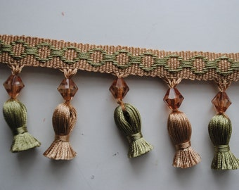 Tassel trim sage and taupe gimp with sage green and taupe tassels Amber bead