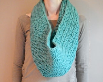 blue green oversized knit scarf, oversized chunky infinity scarf in aqua blue, teal blue knitted circular scarf