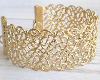 Filigree Gold Cuff Bangle Bracelet - Gold Bracelet - Gold Cuff lace Bracelet - Bridemaids Gifts - Bridal Jewelry