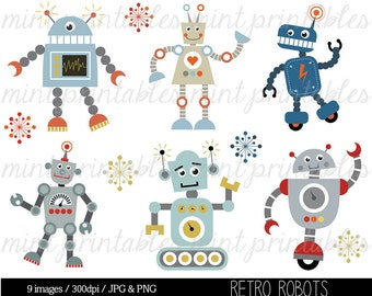 Retro Robot Clipart, Robot Clipart, Birthday Clipart, Robots Clipart, Robot Party, Invitation - Commercial & Personal - BUY 2 GET 1 FREE!