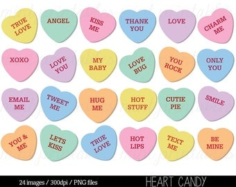 Heart Clipart, Heart Candy Clip Art, Sweethearts Candy Clipart, Conversation Hearts Clipart - Commercial & Personal - BUY 2 GET 1 FREE!
