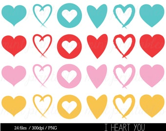 Heart Clipart, Love Hearts Clip Art, Valentine Clipart, Valentines Day, Wedding, Romantic - Commercial & Personal - BUY 2 GET 1 FREE!