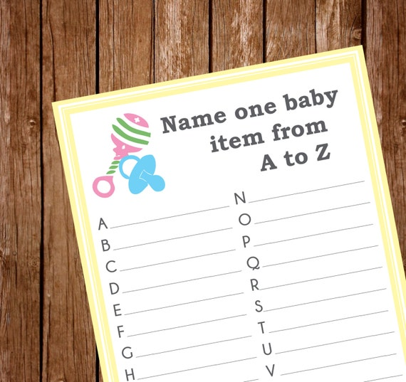 Printable-Baby Shower Game Items A to Z
