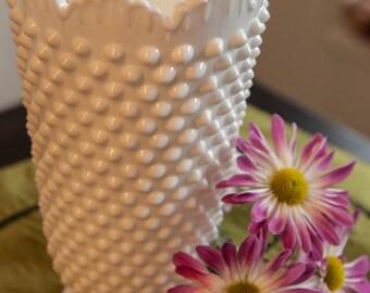 Hobnail Milk Glass Flower Vase