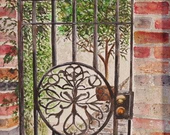 "iron gate,Watercolor painting,art,iron gate in Ireland, Scenic watercolor painting 15.75""x10"",Irish landscape painting, original Ireland"