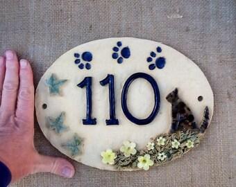Cat house number plaque, ceramic numbers, cat lover's door numbers.