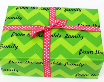 Beautiful Personalized Chic Chevron Wrapping Paper Imprinted with your own wording