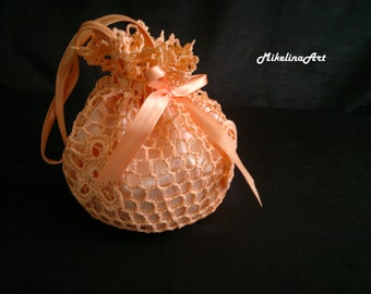 Crochet Bridal Purse,Bridesmaids Purse,Handmade Bridal Purse,Salmon Colour
