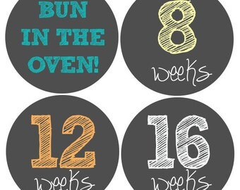 Neutral Pregnancy Stickers, Maternity Stickers, Weekly Pregnancy Stickers, Belly Stickers, Belly Bump Sticker, Pregnancy Milestone Stickers