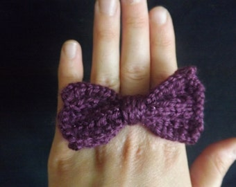 Knitted Jewelry - Knitted Ring - Knit Bow Ring - Knit Flower Ring - Knitted Bow or Flower Ring