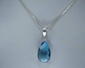 Christmas Sale,  Blue Topaz Pendant with Chain