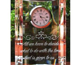 Crystal Desk Clock, Engraved Clock, Half Moon Clock, Personalized Engraved Crystal Clock, Personalized Crystal Desk Clock