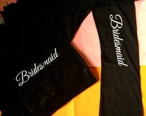 The Bridesmaid Hoodie Set. Bride print Classic Script Hoodie and yoga pants set. Wedding party cotton bridesmaid sets. Maid of Honor.