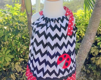 Lady Bug pillow case dress - Custom made - Black chevron and Red polka dot prints
