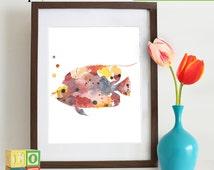 Watercolor Fish Print, Watercolor silhouettes, Sea Life, Beach theme, Nursery Print, Ocean print, Under the Sea, Item  WC004B