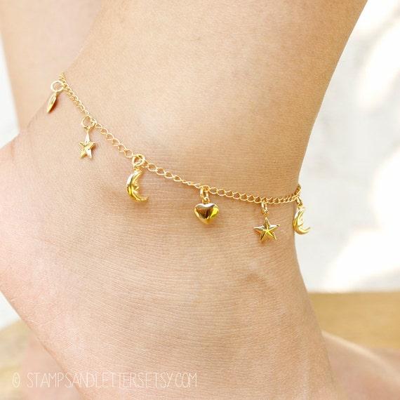 gold ankle bracelet charm anklet moon hearts foot