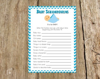 baby shower scattergories game instant download printable