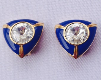 Vintage Clip Earrings, Large Round Rhinestone, Navy Enamel Triangle Setting - Bride, Wedding, Mother of the Bride, Bridesmaids