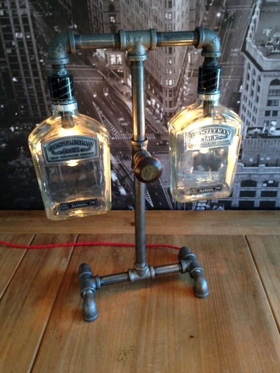 Made to order steampunk industrial whisky bottle pipe lamp for Industrial lamp kit