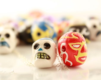 Me Muchacho You Muchacha  Flower Skull Lucha Libre Necklace