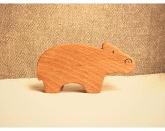 Waldorf inspired wooden animals: the hippopotamus