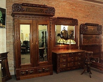Four Piece Antique Victorian Marble Top Bedroom Set, dated 1892, ON SALE!