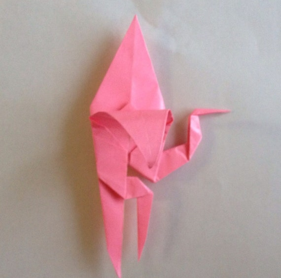 Origami Pink Flamingo Brooch