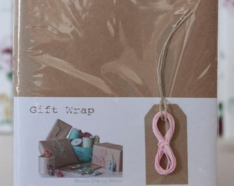Recycled Brown Kraft Paper Gift Wrap Kit - Light Pink Twine- Pack of 5 Kits