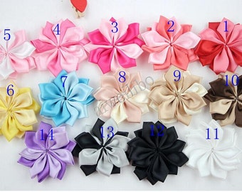 10 pcs 2.4 inch Satin Ribbon Flower, Fabric Flower,Folded Ribbon Flower,Hair Accessories