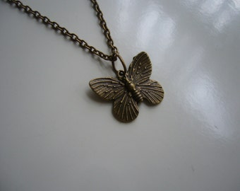 Butterfly Necklace - Antique Bronze Butterfly Necklace - Butterfly Pendant Charm Necklace - Butterfly - Miniature Butterfly- Nickel Free