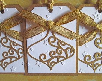 Bauble Christmas Gift Tags, Gold Christmas Tags, Christmas Favor Tags, Christmas Hang Tags, Holiday Gift Tags, Bauble Gift Tags