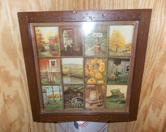 Vintage Homco Home Interior Interiors Window Pane Picture Rustic Fall