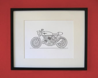 Ducati Cafe Racer Letterpress Poster