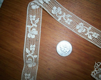 2 yds. of Antique lace by the yard filet type lace french origin 1910