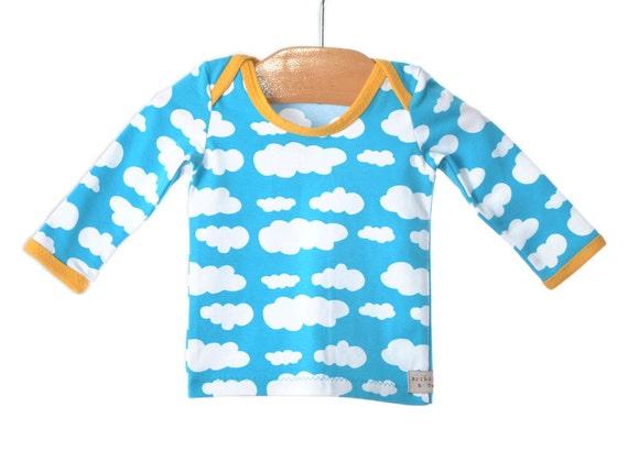 baby boy shirt,  3- 6 m. BLUE SKY lap tee. high end european fabric. Happy and Bright