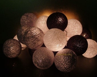 20 Mixed Gray Brown cotton ball string lights for Patio,Wedding,Party