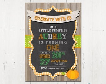 Pumpkin Birthday Invitation - Fall Birthday Invitation - Printable Fall Invitation - Printable Pumpkin Invitation - Pumpkin Fall Birthday