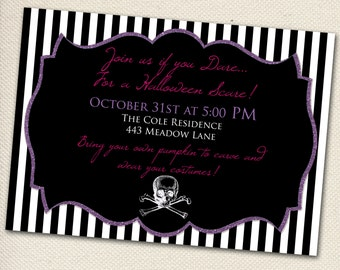 Glam Halloween Party Invitation -  Customizable - You Print