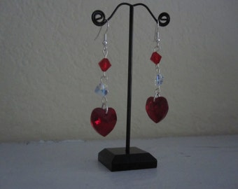 Red Swarovski heart crystal dangle earrings