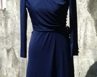 Vintage blue faux wrap dress; Trends by Jerrie Lurie dress