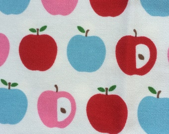 Half Yard- D's Selection Tip Top Collection DT22542S Produced by Fumika Oishi-  Red Apple / Blue Check and Blue Polka Dots Panel