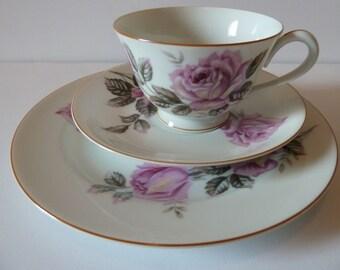 Noritake Nippon Toki Kaisha China Trio Cup Saucer & Plate Pink Roses Mint