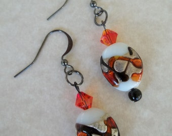 Lara - Glass and Swarovski crystal earrings