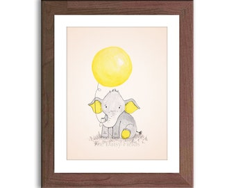 Children's Elephant Art, Nursery Art Print, Baby Elephant Picture, Elephant and Balloon, Whimsical, Watercolour Print, Baby Art - E456