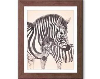Baby Boy Nursery Art - Zebra Watercolor Print - Baby Nursery Decor - Safari Animals Nursery - Z301