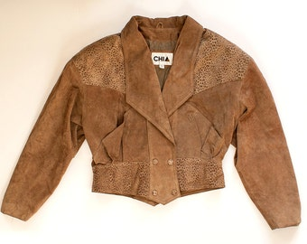 Vintage 70s 80s Light Brown Leather Jacket with Animal Print and Buttons / Size L Soft Cropped Jacket